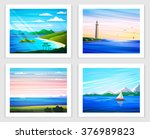 seascapes. set of vector... | Shutterstock .eps vector #376989823