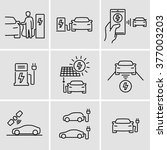 electric car icons  | Shutterstock .eps vector #377003203