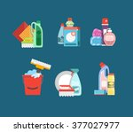 cleaning tools vector set.... | Shutterstock .eps vector #377027977