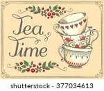 illustration tea time with cute ... | Shutterstock .eps vector #377034613