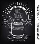vintage poster good morning... | Shutterstock .eps vector #377035957