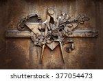 grunge freemasonry emblem on... | Shutterstock . vector #377054473