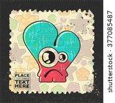 cute monster on grunge postage...   Shutterstock .eps vector #377085487