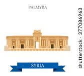 Palmyra In Syria. Flat Cartoon...
