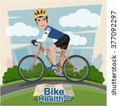 smiling cartoon man riding on... | Shutterstock .eps vector #377092297
