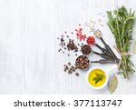 herbs and spices over wood... | Shutterstock . vector #377113747