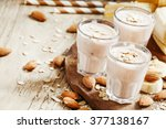 banana smoothie with milk ... | Shutterstock . vector #377138167