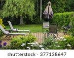 wooden patio or deck in... | Shutterstock . vector #377138647
