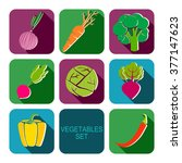 vegetables icons flat set | Shutterstock . vector #377147623