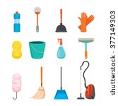cleaning  home appliances icons ... | Shutterstock .eps vector #377149303