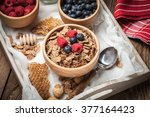 healthy breakfast   bowl of... | Shutterstock . vector #377164423