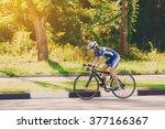Female Sportsman Cyclist Ridin...