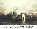 man walking in a mystic dark... | Shutterstock . vector #377166763