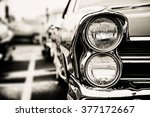 classic car with close up on... | Shutterstock . vector #377172667