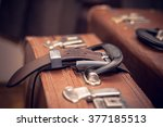 vintage suitcase strapped a... | Shutterstock . vector #377185513