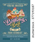 invitation card to birthday... | Shutterstock .eps vector #377193187