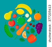 fruits and vegetables in round... | Shutterstock .eps vector #377205613