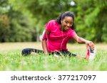 african american woman jogger... | Shutterstock . vector #377217097