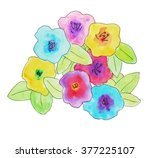 abstract watercolor flower... | Shutterstock . vector #377225107
