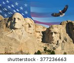 Mount Rushmore With American...