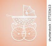 it's a girl  vintage baby pram... | Shutterstock .eps vector #377253613