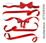 shiny red ribbon on white... | Shutterstock .eps vector #377259193