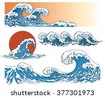 Waves In Japanese Style. Sea...