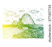 juscelino kubitschek bridge ... | Shutterstock .eps vector #377307733