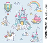 magic cute baby vector set with ... | Shutterstock .eps vector #377313253