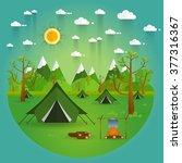summer landscape. morning... | Shutterstock .eps vector #377316367