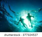 silhouette of senior couple... | Shutterstock . vector #377324527