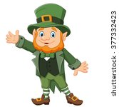 Cartoon Happy Leprechaun Wavin...