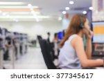 blurred asian woman operator...   Shutterstock . vector #377345617