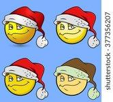 happy christmas santa smiley set | Shutterstock .eps vector #377356207