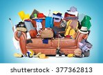 large leather sofa with a bunch ... | Shutterstock . vector #377362813
