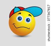 innocent smiley with cool cap   Shutterstock .eps vector #377367817
