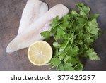 frozen alaska pollock fillet... | Shutterstock . vector #377425297