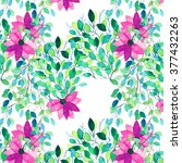 watercolor seamless floral... | Shutterstock . vector #377432263