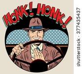 honk vehicle horn driver man | Shutterstock .eps vector #377435437