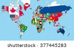 the world map with all states... | Shutterstock .eps vector #377445283
