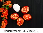 red easter eggs. postcard...