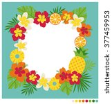 summer frame vector with... | Shutterstock .eps vector #377459953