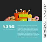 fast food vector concept banner.... | Shutterstock .eps vector #377461117
