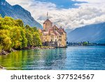 Beautiful view of famous Chateau de Chillon at Lake Geneva, one of Switzerland
