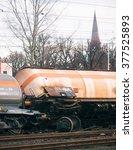 Small photo of SZCZECIN, POLAND - FEBRUAR 16, 2016: Derailed train in Poland. The train was carrying ammonia.