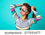 fashion lifestyle portrait of... | Shutterstock . vector #377551477