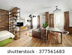 interior studio apartments ...   Shutterstock . vector #377561683