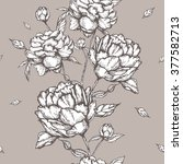 peony flowers seamless pattern | Shutterstock .eps vector #377582713