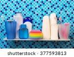 shelf in the bathroom with... | Shutterstock . vector #377593813
