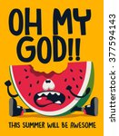watermelon character vector... | Shutterstock .eps vector #377594143